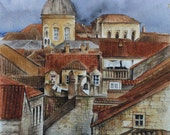 Terracotta Rooftops of Dubrovnik- Original Watercolour Painting