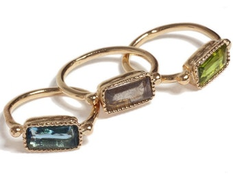 14K Gold Filled Rectangular-orbs Ring inlaid with colorful gems, 14K Gold plated Rectangular-orbs Ring