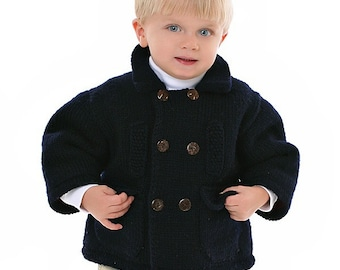 Kids Classic Wool Pea Coat - Hand Knit Merino Wool Sweater Pea Coat Hand Knit
