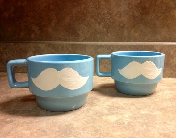 Stackable Mustache Coffee Mugs (2)