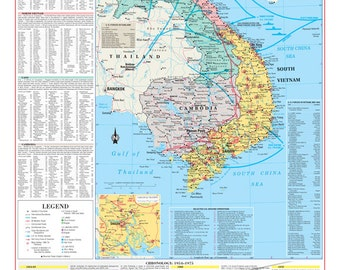 Vietnam War/Conflict Wall Map Poster Military - PAPER Folded