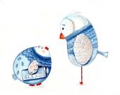 Kids Wall Art. Forward thinking fledgling illustration