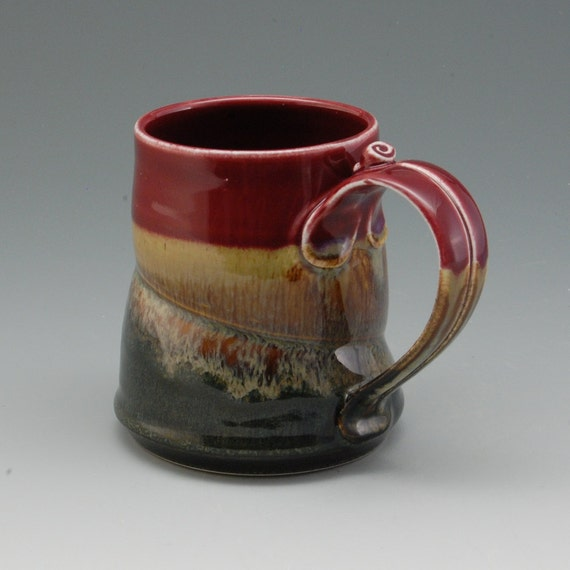Pottery Mug Plum Red Brown Porcelain by Mark Hudak