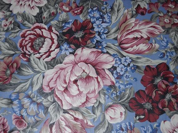Vintage Romantic Blue Cabbage Rose Floral Chintz Fabric 55x65