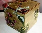 Square Flora and Fauna Decoupaged Storage Box