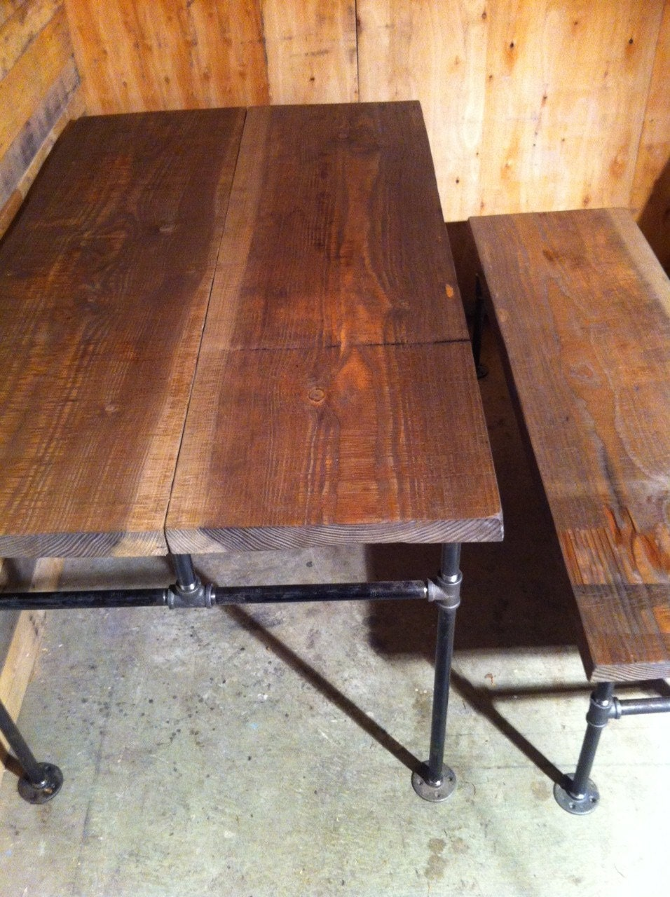 Industrial cast iron pipe douglas fir dining table