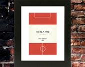 "Book Clubs: ""Barnsley"" A4 Football Print in red."
