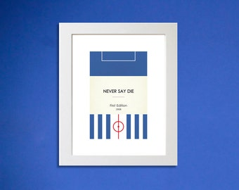 """Book Clubs: """"Hartlepool"""" A4 Football Print in blue and red."""