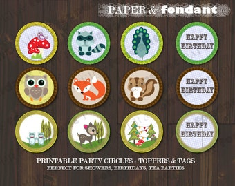 """INSTANT DOWNLOAD - PRINTABLE Topper Circles - """"Happy Birthday"""" - Woodland theme cupcake toppers / party tags"""