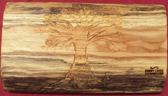Hand Carved Oak Tree on Natural Edge Oak Cutting Board/Serving Board Approx.13 1/2 x 7 1/2 X 1 1/2 inches thick