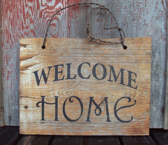 Barn Wood Welcome Home Sign Hand Painted. Rustic Wall Decor