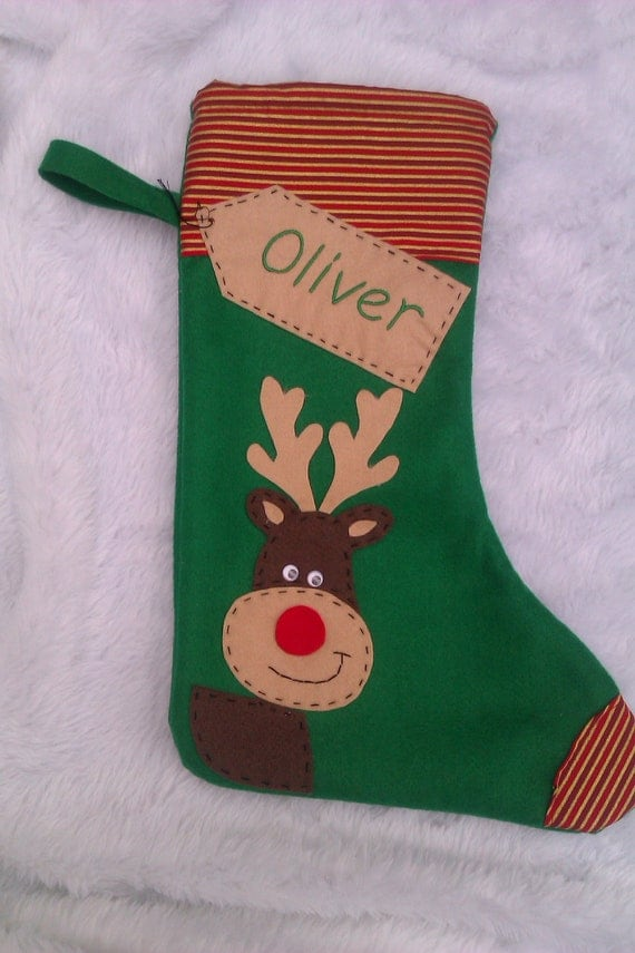 Personalized christmas stocking handmade green reindeer for Custom made christmas stockings