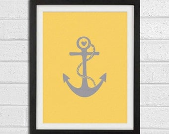 Anchor Art Print - Grey Charcoal Beach House Wall Art Home Decor 8x10