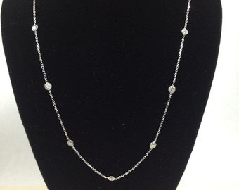 Diamonds by the Yard Necklace in 14kt White Gold (0.85cttw, 9 diamonds total)