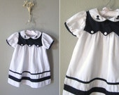 Little Girl's Vintage Nautical Dress // 1970s Baby White Sailor Dress // 18 months