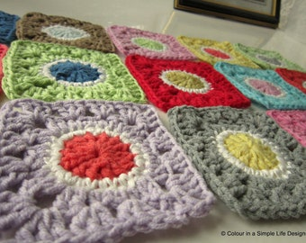 Granny's Gone Dotty Square Crochet Pattern