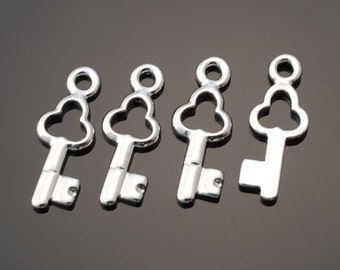 3071012 / Key / Rhodium Plated Brass Pendant 6mm x 15.4mm / 0.4g / 4pcs