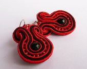 Red and Black soutache sterling silver earrings