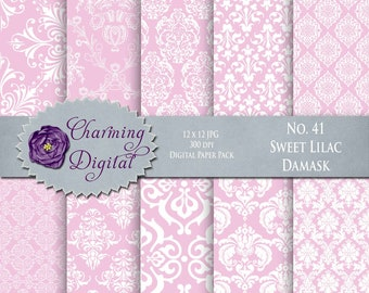 Pink Damask Digital Paper, Pink Scrapbooking Digital Paper, No. 41 Sweet Lilac