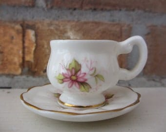 Vintage English Bone China Collectible MInature Cup and Saucer