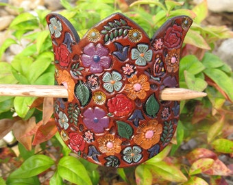 Hand Painted Tooled Leather Hair Barrette with stick - Flowers on a Flower