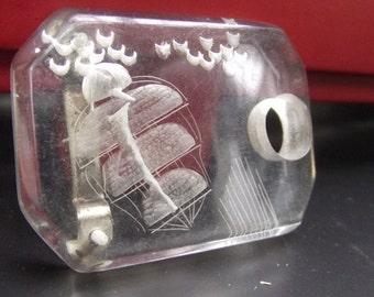 1930s Reversed Carved Clear Lucite Belt Buckle