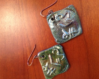 UNIQUE RAKU Drop Earrings with Faux Hieroglyphic Relief