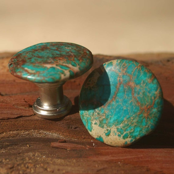 Unavailable listing on etsy for Turquoise door knobs