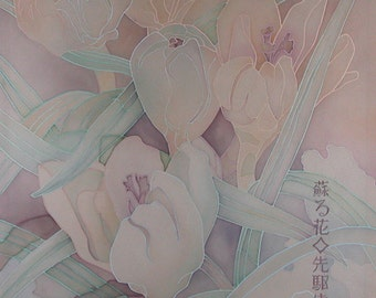 """Batik painting """"The first crocus""""spring Flowers. Made to order"""