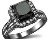 2.84ct Black Princess Cut Diamond Engagement Ring 18k Black Gold