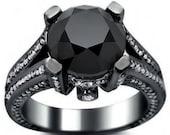 5.10ct Black Round Diamond Engagement Ring 14k Black Gold