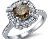 Brown 1.55ct  Round Diamond Engagement Ring 18k White Gold