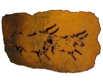 Lascaux bulls rustic sheet metal wall art made-to-order