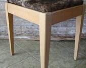 Vintage Wooden Cowhide Bench With Storage Brindle Pattern Hide