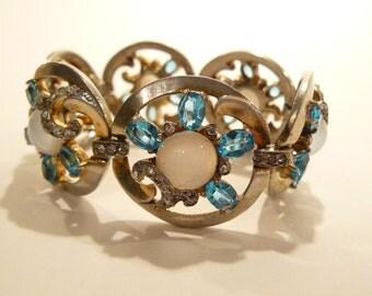 Chunky Vtg MAZER Sterling Moonstone & Rhinestone Bracelet