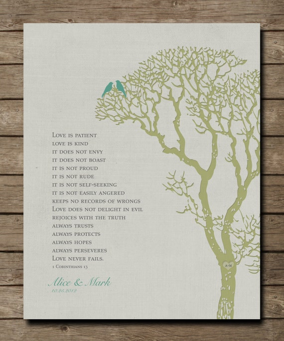 Wedding Gift Check Both Names : Personalized Wedding Tree Anniversary Gift Print, 1 Corinthians 13 ...