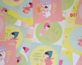 Kawaii Stickers Party Favors Gifts Labels Cute Korean Girl Scrapbooking Yellow Pink Mint 6 Sets