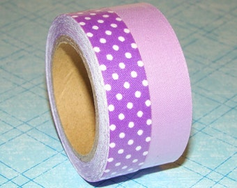 Fabric Tape Roll 2 Set Cute Purple Grape Polka Dots Solid Colors Scrapbooking Stationary Deco