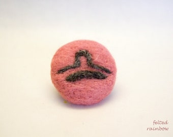 Gifts for Libra, Libra Zodiac, Needle felted brooch, Pink Libra brooch, Personalised jewelry, Zodiac gifts, Birthday gift, Libra Star sign