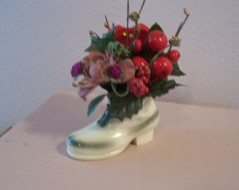 "35% off SALE-Use coupon code ""xmasinjuly16' -Rose- Floral- Christmas roses and berries vintage ceramic shoe flower arrangement"