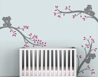 Kids Tree Wall Decal Baby Nursery Tree Decals Childrens Room - Koala Tree Branches by LittleLion Studio