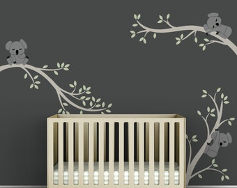Kids Wall Decal Gender Neutral Colors Gray and Green Wall Sticker - Koala Tree Branches by LittleLion Studio