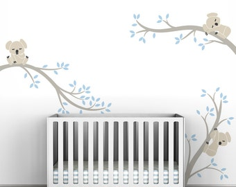 Baby Blue Wall Decal Tree Kids Wall Decal Decor - Koala Tree Branches by LittleLion Studio