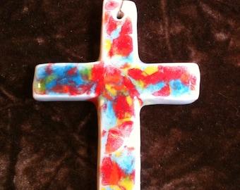 Cross multi color handmade Pottery Ornament