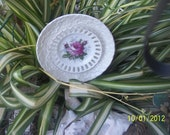 Single Rose Mini Plate Flower yard art garden art cupcake server keepsake