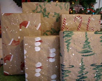Christmas Wrapping Paper, wrapping paper, gift paper,hand painted paper, wrapping paper kits, Christmas wrap kits