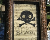 Whimsical Mixed Media Halloween Skull & Crossbones Picture