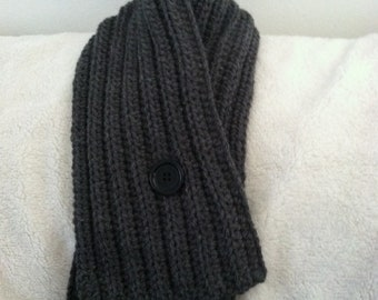 Crocheted Winter Scarf / One Button Cowl