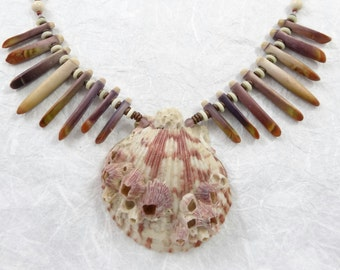 Pink Sea Shell necklace with Sea Urchin Spines
