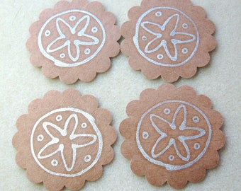 Tags Blank Scallop Cardstock  Paper Handmade